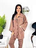 Женский костюм двойка рубашка на кнопках штаны трикотаж двухнитка размер: 42-44, 46-48, фото 4
