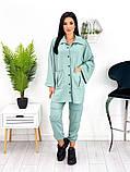 Женский костюм двойка рубашка на кнопках штаны трикотаж двухнитка размер: 42-44, 46-48, фото 5