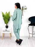 Женский костюм двойка рубашка на кнопках штаны трикотаж двухнитка размер: 42-44, 46-48, фото 3