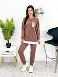 Спортивний костюм жіночий трикотаж двухнить батник штани розмір: 42-44, 46-48,50-52, фото 5