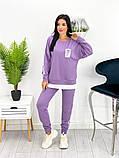 Спортивний костюм жіночий трикотаж двухнить батник штани розмір: 42-44, 46-48,50-52, фото 6