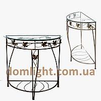 Столик кованый пристенный металический стекляный журнальный М048