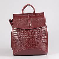 Жіночий бордовий рюкзак-сумка з натуральної шкіри з тисненням під шкіру крокодила Tiding Bag - 26552, фото 2