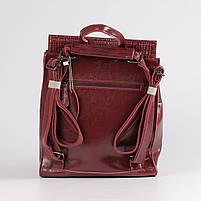 Жіночий бордовий рюкзак-сумка з натуральної шкіри з тисненням під шкіру крокодила Tiding Bag - 26552, фото 4