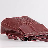 Жіночий бордовий рюкзак-сумка з натуральної шкіри з тисненням під шкіру крокодила Tiding Bag - 26552, фото 5