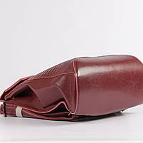 Жіночий бордовий рюкзак-сумка з натуральної шкіри з тисненням під шкіру крокодила Tiding Bag - 26552, фото 6