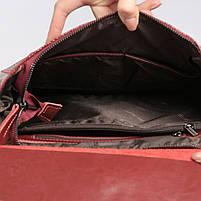 Жіночий бордовий рюкзак-сумка з натуральної шкіри з тисненням під шкіру крокодила Tiding Bag - 26552, фото 7