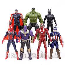 Набір фігурок 7в1 Месники: Тор, Халк, Танос, Залізний людина, Людина-павук, Капітан Америка, Чорна Пантера