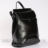 Женский черный городской рюкзак из натуральной кожи Tiding Bag - 23228, фото 2