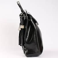 Женский черный городской рюкзак из натуральной кожи Tiding Bag - 23228, фото 3