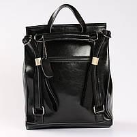 Женский черный городской рюкзак из натуральной кожи Tiding Bag - 23228, фото 4