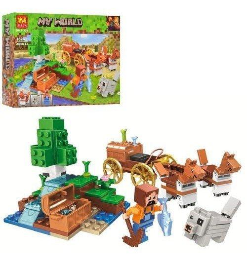 Конструктор Майнкрафт будова, віз, коні, фігурки, 162 деталі, коробка 26-19,5-4,5 см