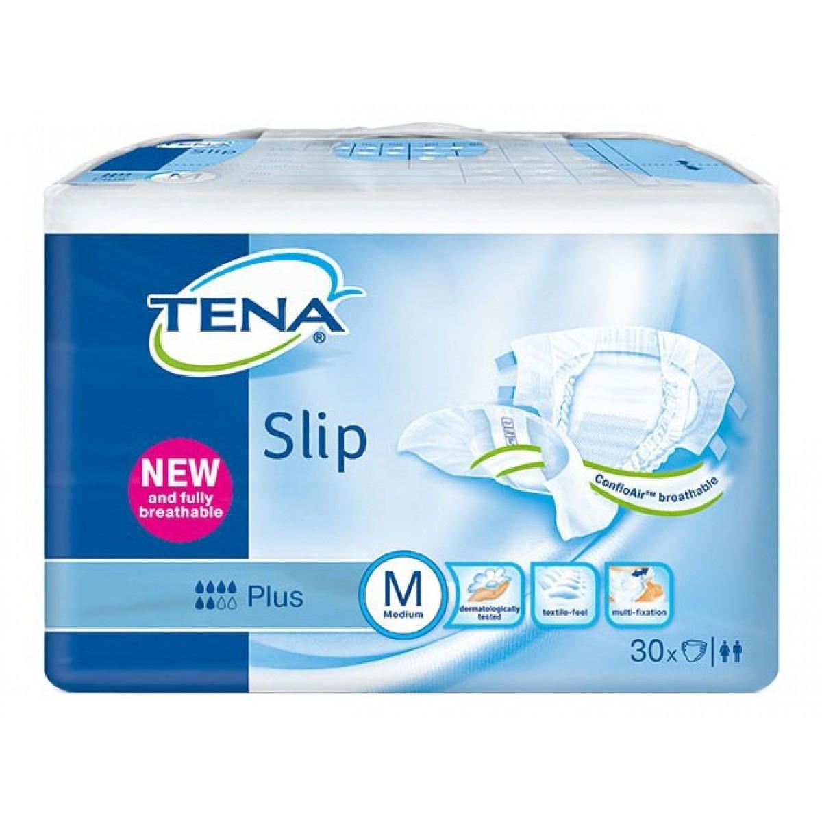 Подгузники для взрослых Tena Slip Plus Medium(дышащие) обхва талии 80-120см