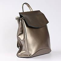 Женский серебристый городской рюкзак из натуральной кожи Tiding Bag - 24994, фото 2