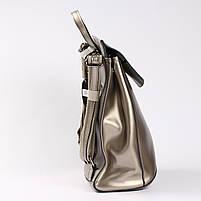 Женский серебристый городской рюкзак из натуральной кожи Tiding Bag - 24994, фото 3
