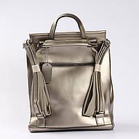 Женский серебристый городской рюкзак из натуральной кожи Tiding Bag - 24994, фото 4