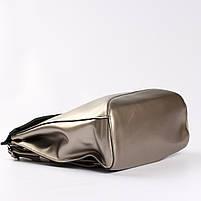 Женский серебристый городской рюкзак из натуральной кожи Tiding Bag - 24994, фото 6