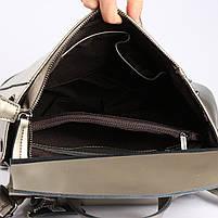 Женский серебристый городской рюкзак из натуральной кожи Tiding Bag - 24994, фото 7