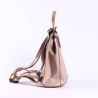 Жіночий пудровий рюкзак-сумка з натуральної шкіри з тисненням під шкіру крокодила Tiding Bag - 44343, фото 3