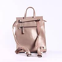 Жіночий пудровий рюкзак-сумка з натуральної шкіри з тисненням під шкіру крокодила Tiding Bag - 44343, фото 4