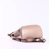 Жіночий пудровий рюкзак-сумка з натуральної шкіри з тисненням під шкіру крокодила Tiding Bag - 44343, фото 6