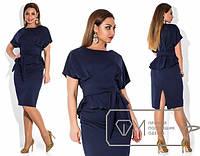 Платье женское с поясом синие ОМ/-279
