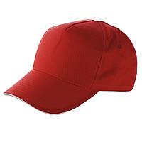 Молодёжная кепка бейсболка хлопковая, 5-ти панельная, красного цвета, под нанесение