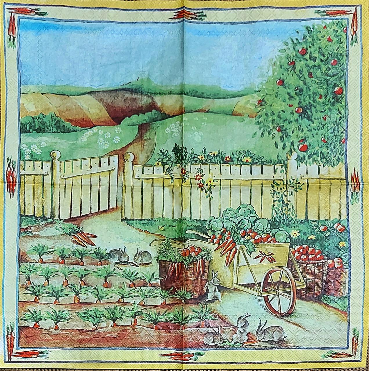 Редкая салфетка декупажная Зайцы в огороде 8584