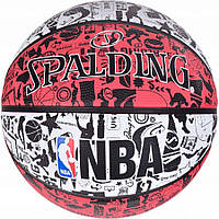 М'яч баскетбольний Spalding NBA Graffiti Outdoor White/Red Size 7
