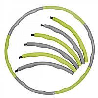 Обруч массажный Hula Hoop SportVida 100 см 1.2 кг SV-HK0339 Grey/Green, фото 1