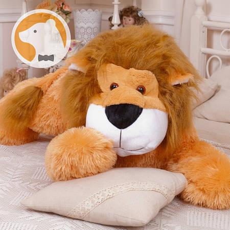 Плюшевый лев Симба лежащий, длина 110 см, медовый