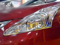 Хром передних фар Nissan Tiida 2011+