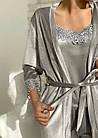 Жіноча велюрова піжама 4в1 майка шорти штани і халат сірого кольору, фото 4