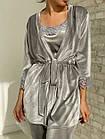 Жіноча велюрова піжама 4в1 майка шорти штани і халат сірого кольору, фото 3
