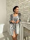 Жіноча велюрова піжама 4в1 майка шорти штани і халат сірого кольору, фото 2