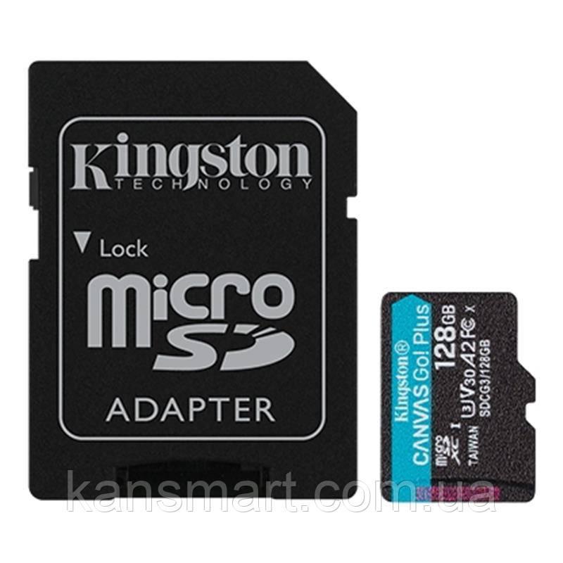 MicroSDXC 128GB UHS-I/U3 Class 10 Kingston Canvas Go! Plus R170/W90MB/s + SD адаптер (SDCG3/128GB)