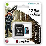 MicroSDXC 128GB UHS-I/U3 Class 10 Kingston Canvas Go! Plus R170/W90MB/s + SD адаптер (SDCG3/128GB), фото 3