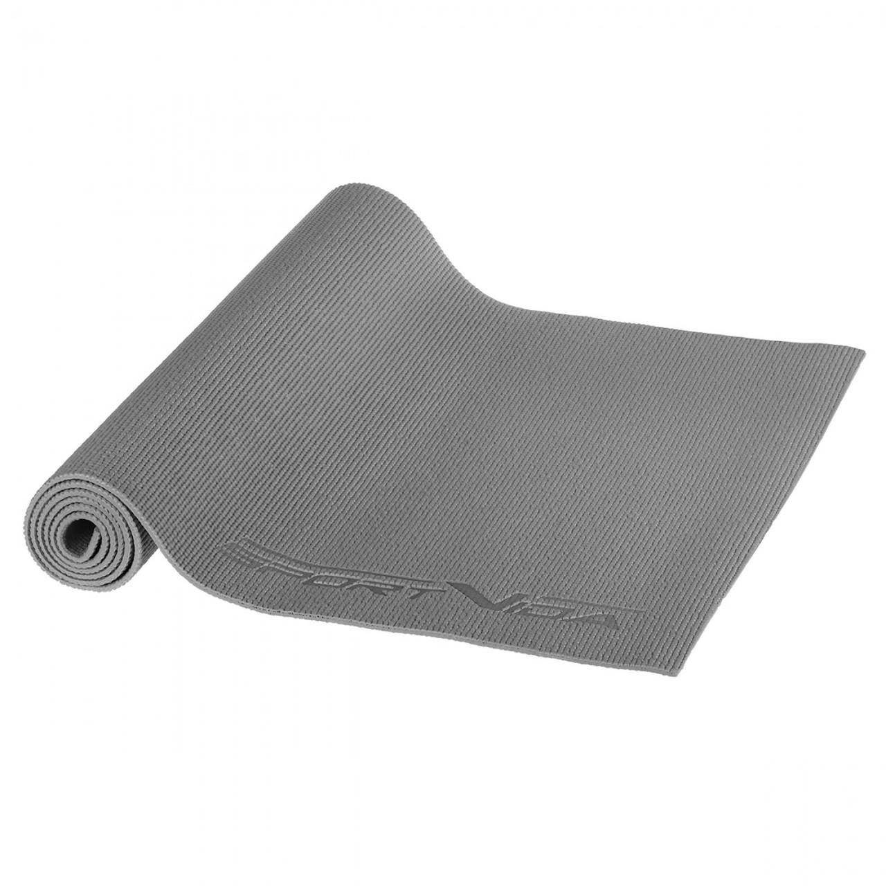 Килимок (мат) для йоги та фітнесу SportVida PVC 6 мм SV-HK0054 Grey