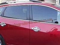 Хромированные накладки на стекла (стекольный молдинг) Nissan Tiida 2011+