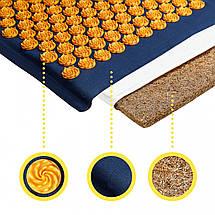 Килимок акупунктурний з подушкою 4FIZJO Eco Mat Аплікатор Кузнєцова 68 x 42 см 4FJ0229 Navy Blue/Orange, фото 3