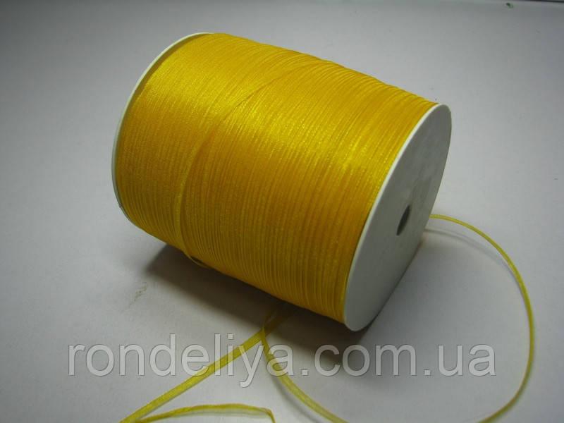 Лента органза 0,3 см 100 метров желтый подсолнух
