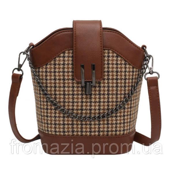 Жіноча сумка з твіду з обробкою з екошкіри