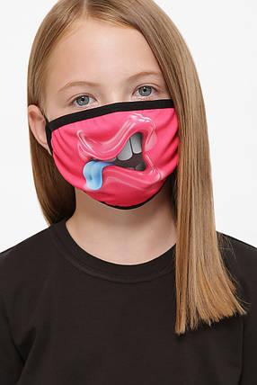 Защитная маска детская тканевая на резинке маска на подростка с принтом, фото 2