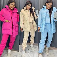 Женский модный теплый костюм-тройка с капюшоном (Норма и батал), фото 3