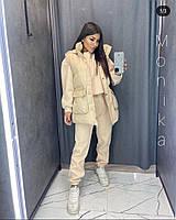 Женский модный теплый костюм-тройка с капюшоном (Норма и батал), фото 7