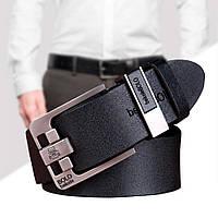 Кожаный ремень мужской 125 см Bolo Bekele №2 / Ремень под джинсы, брюки Чёрный