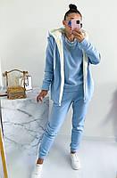 Женский теплый спортивный костюм-тройка с жилеткой на меху (Норма и батал), фото 2