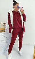 Женский теплый спортивный костюм-тройка с жилеткой на меху (Норма и батал), фото 3