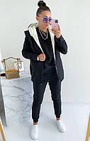 Женский теплый спортивный костюм-тройка с жилеткой на меху (Норма и батал), фото 6