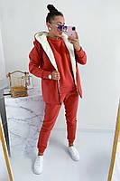Женский теплый спортивный костюм-тройка с жилеткой на меху (Норма и батал), фото 7